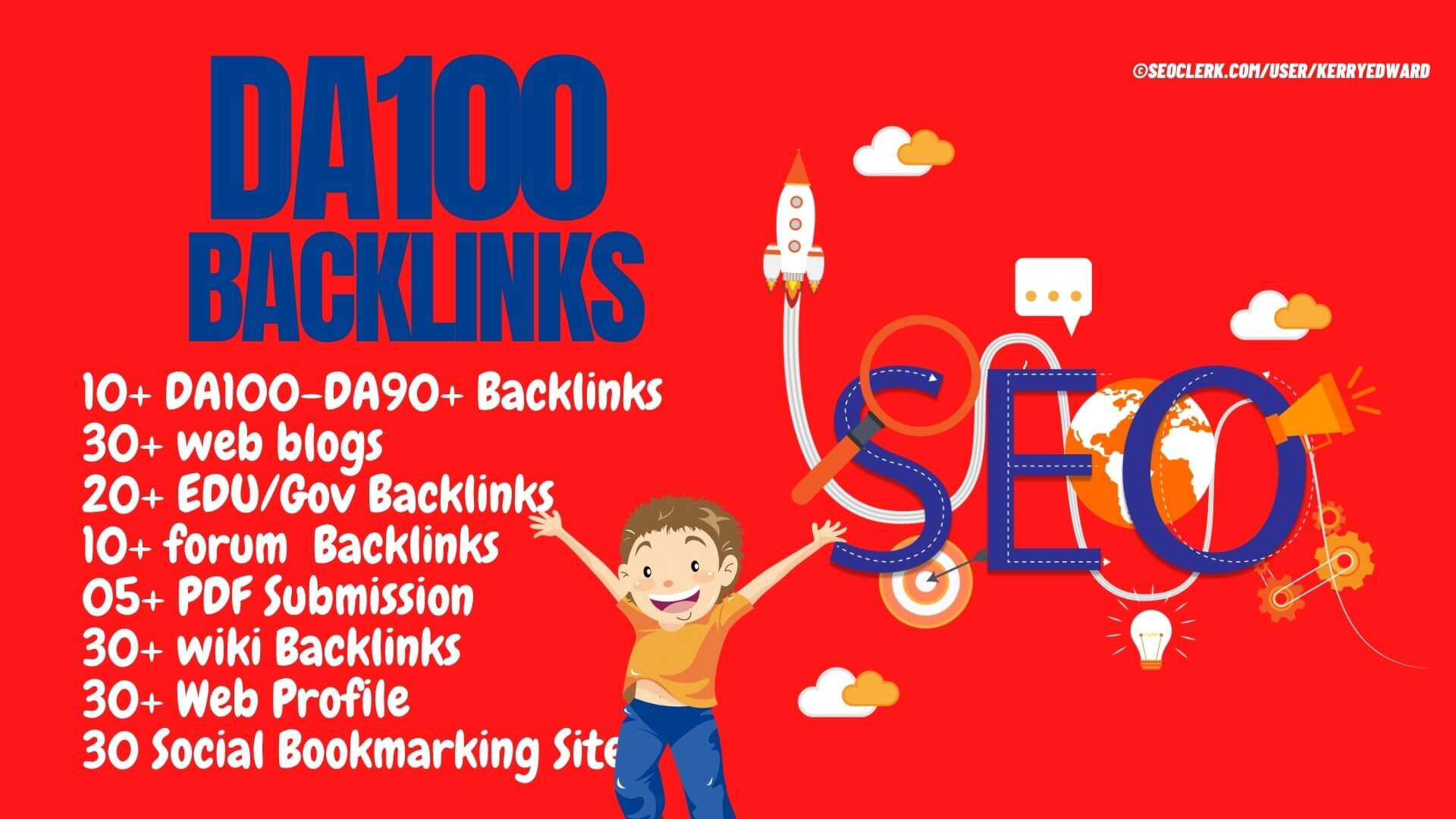 PR10 Backlinks 60 Web,  20 Edu/Gov,  30 Wiki,  30 Web,  30 Social Bookmarking,  10 Forum,  10 DA90+