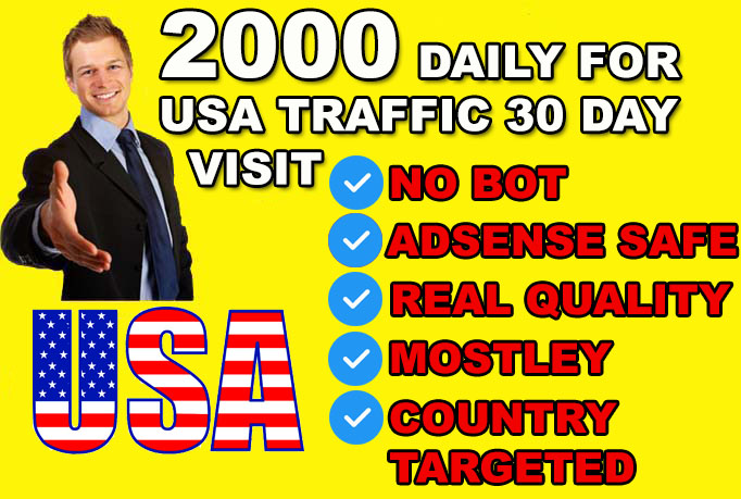 Website Real Human Visitors FOR USA country targeted