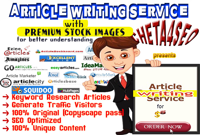 1000 Words ARTICLE Content Writing with PREMIUM STOCK IMAGES for Better Illustration on any TOPIC