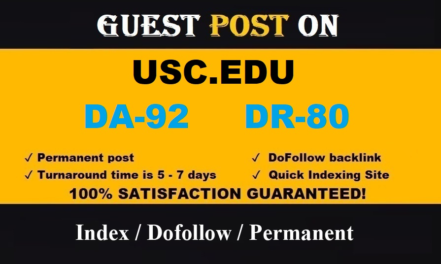 Guest post on California Edu University Blog - usc. edu - DA 92