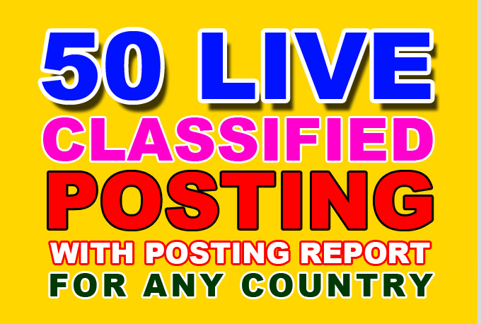 50 classified ads posting service with live link report any country