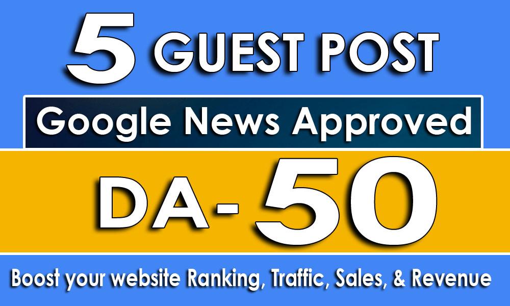 I Will Do 5 Guest Posts on DA50+ Websites