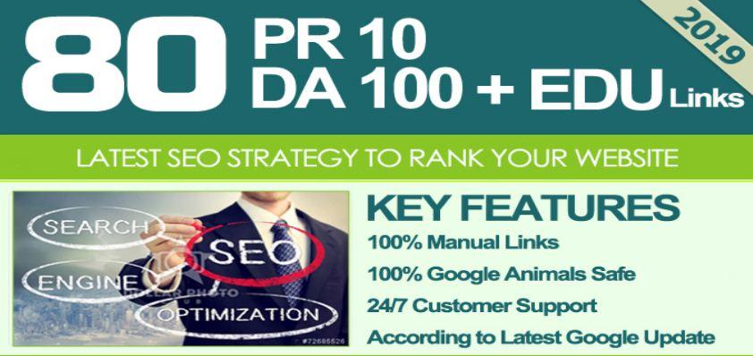 I Get MANUALLY Do 80 UNIQUE PR10 SEO BackIinks on DA100 sites