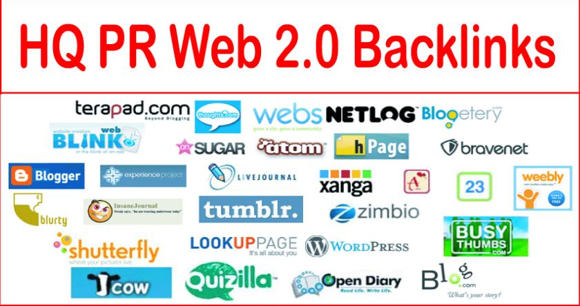 Provide 60 high PR web 2.0 Backlinks
