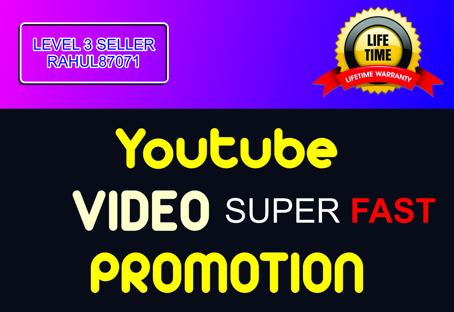 Super Fast HIGH Quality Youtube Video Promotion and Marketing