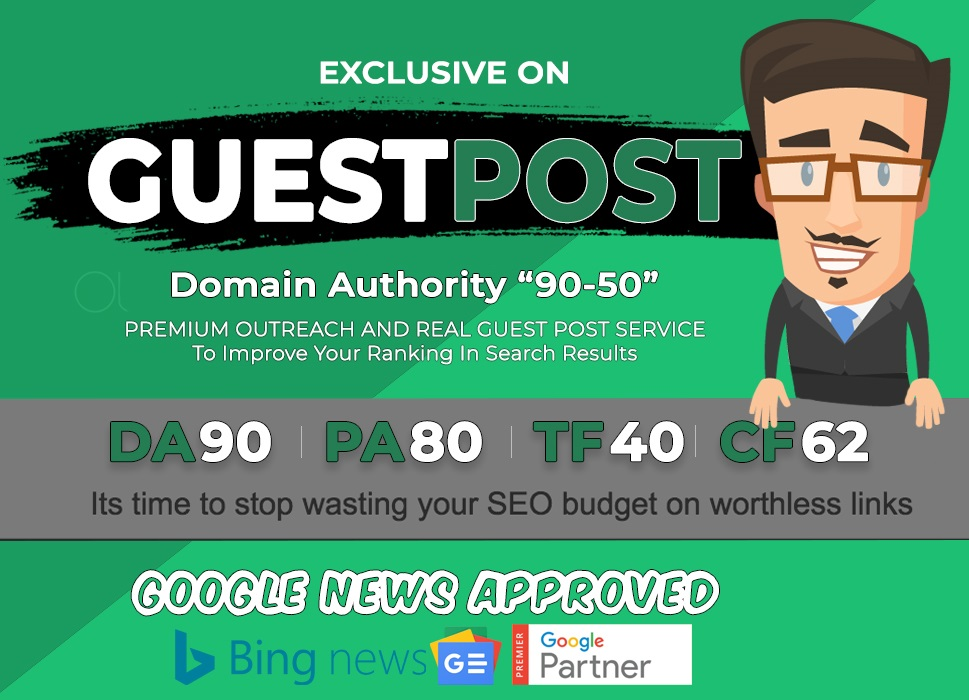 seo guest post in da 90 50 google news approved site