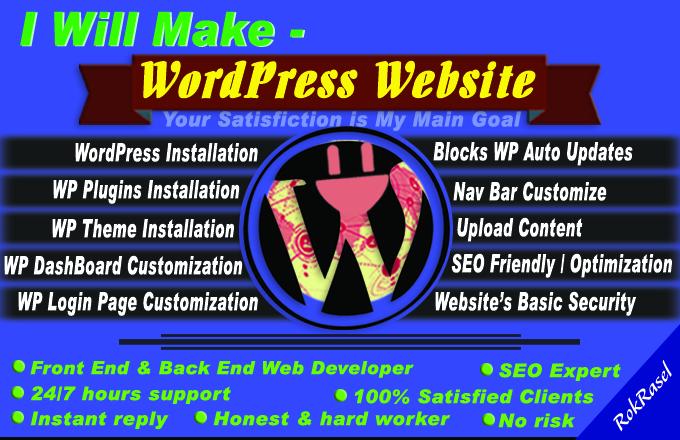 I will make WordPress website for personal portfolio,  business or blog