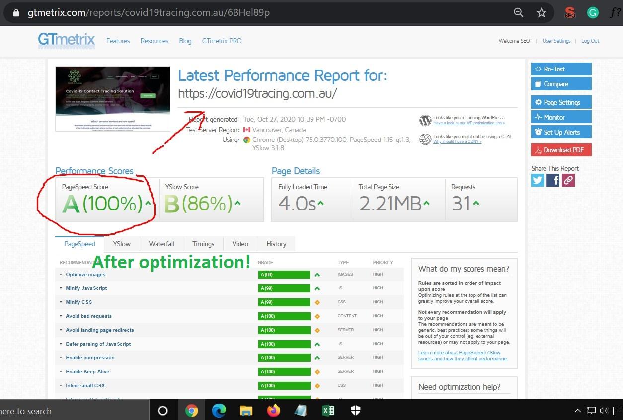 WordPress website speed optimization with Gtmetrix