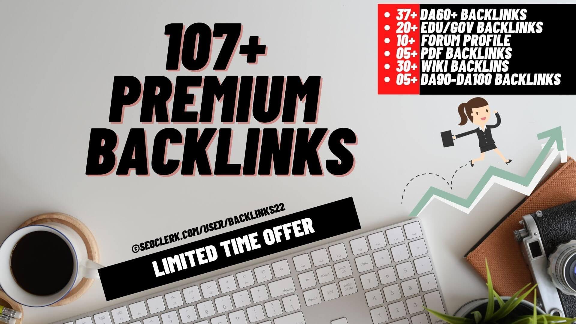DA90+ Backlinks - 20 Edu/Gov,  30 Wiki,  10 Forum,  05 PDF,  37 DA60+ and 05 from DA90+