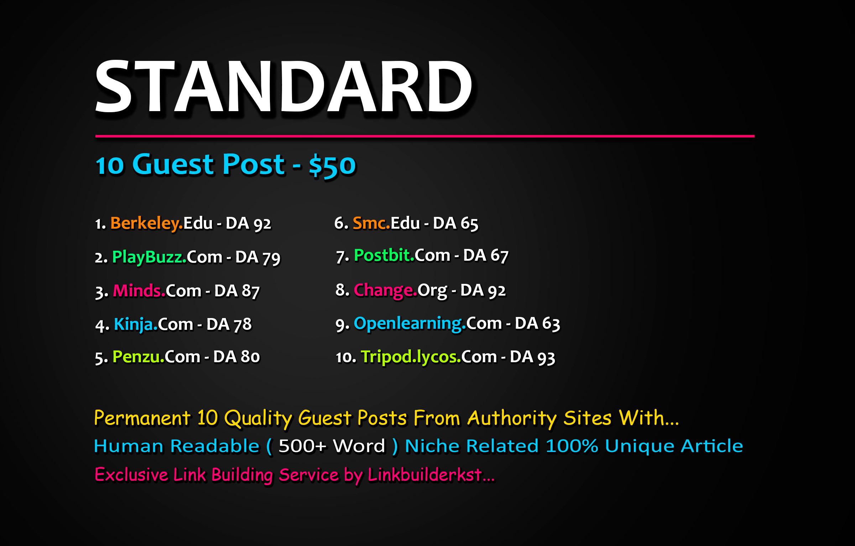 Write And Publish 5X Guest Posts From DA 50+ Unique Platforms