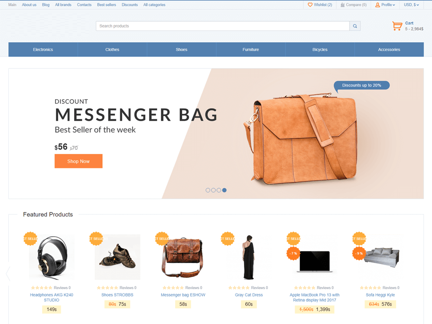 I will create a professional and clean eCommerce website