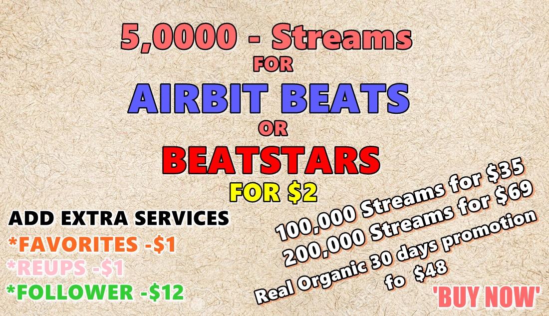 5000 airbit beat hits or beatstars play worldwide