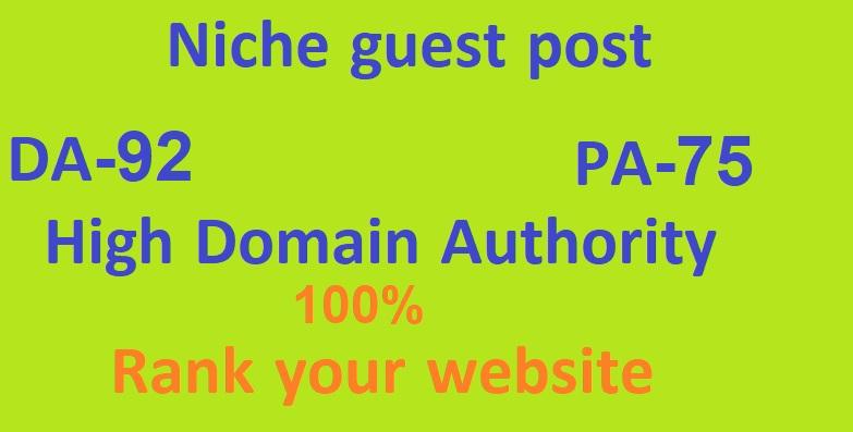 Provide You 3 High Niche Guest Post DA 92 PA 75