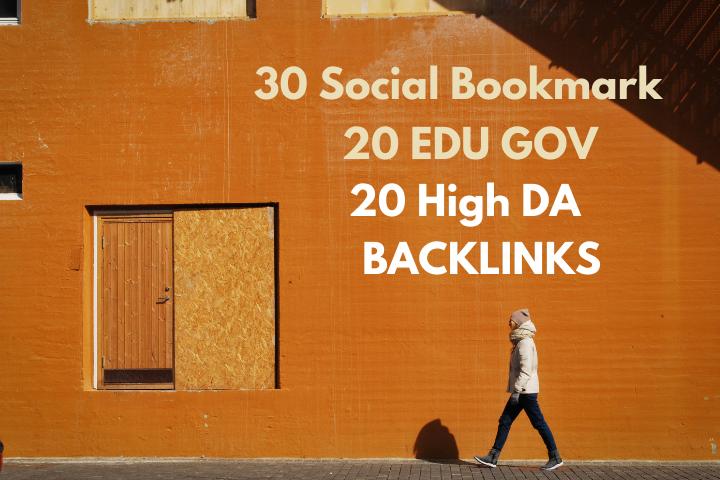 20 Edu, Gov 20 Pr9 profile backlink 30 high DA Social-Bookmark