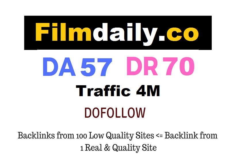 Guest Post on 4 Million Traffic website Filmdaily.co - Dofollow