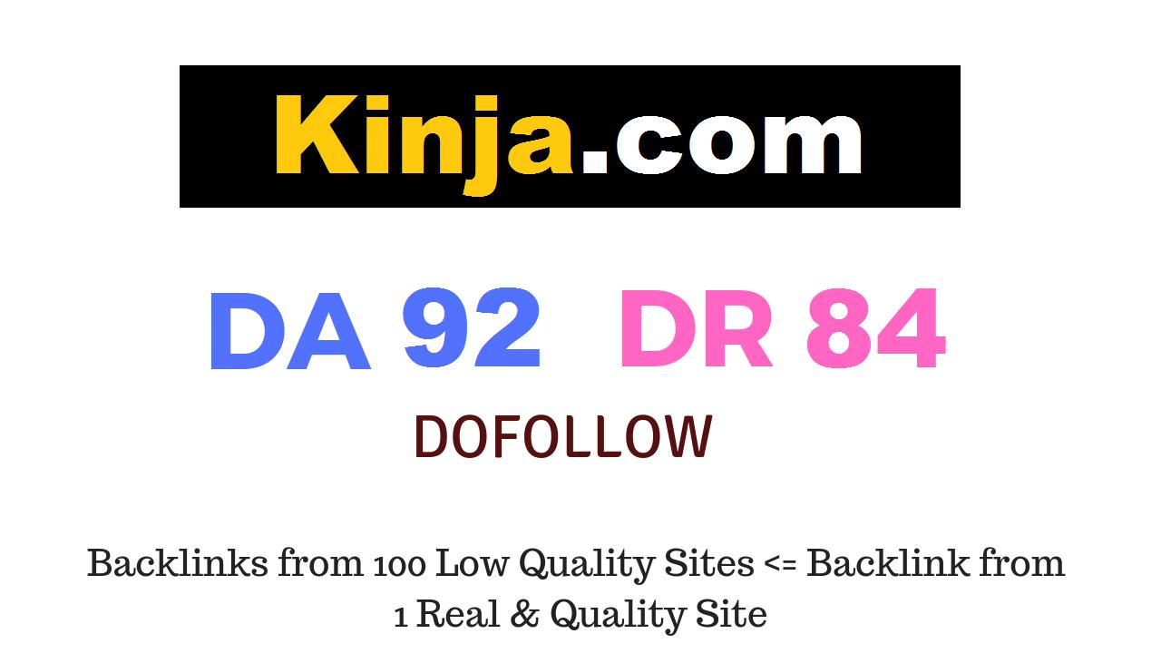 Publish Guest Post on Kinja.com DA92 DR84