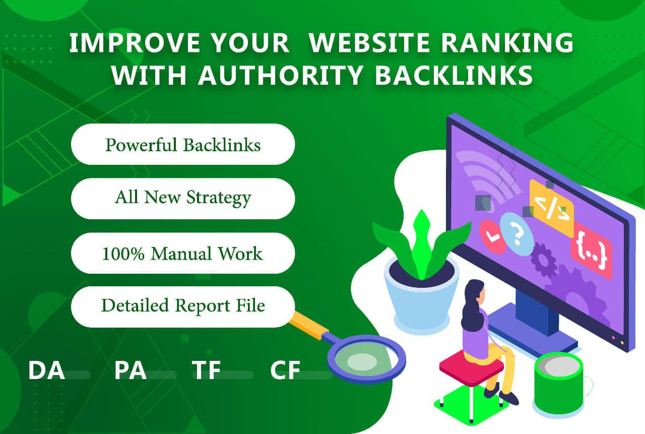 manual 95 unique domain SEO backlinks on tf100 da100 sites