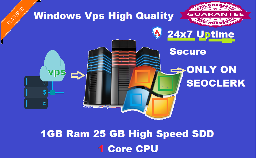 Windows VPS RDP 1 GB RAM 25 GB SSD 1 CPU