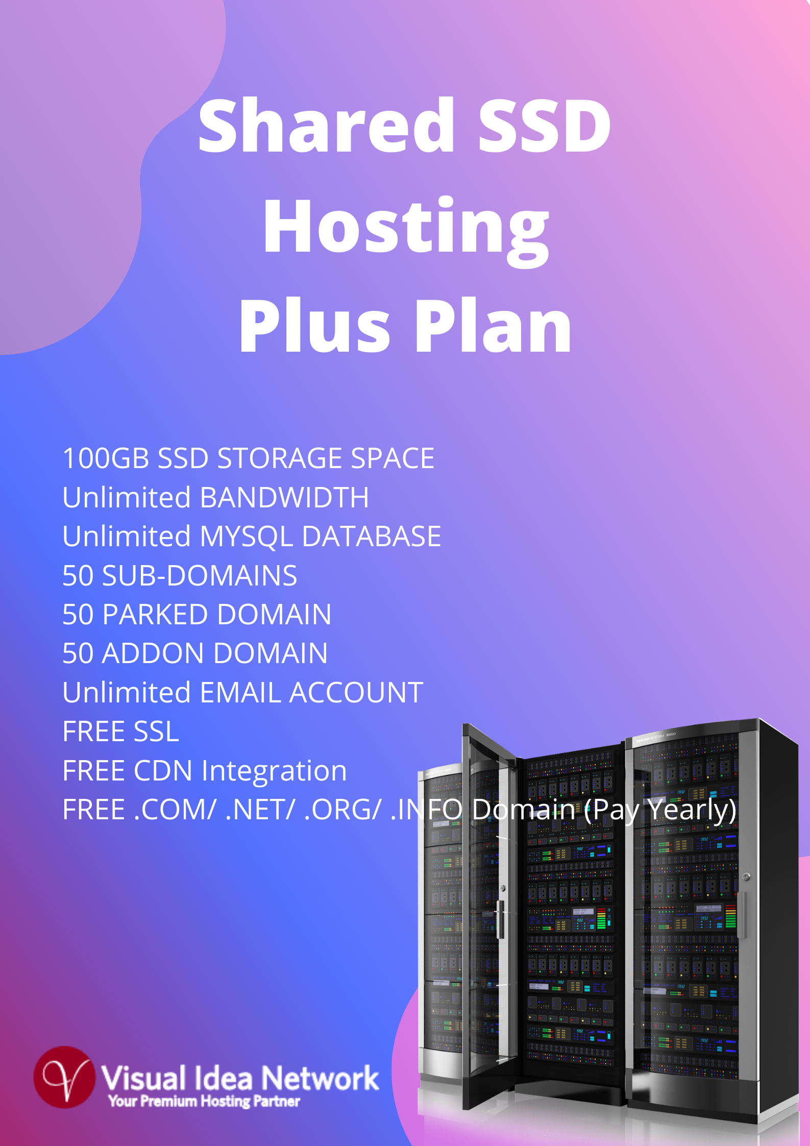 Shared SSD Plus Hosting Plan with Unlimited Bandwidth