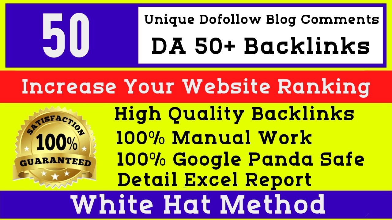 I will Manually do 50 high quality dofollow DA 50 blog comments