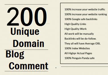 Best Offer 200 Unique Domain Blog Comment Dofollow Backlinks With HIgh DA30 Plus Sites