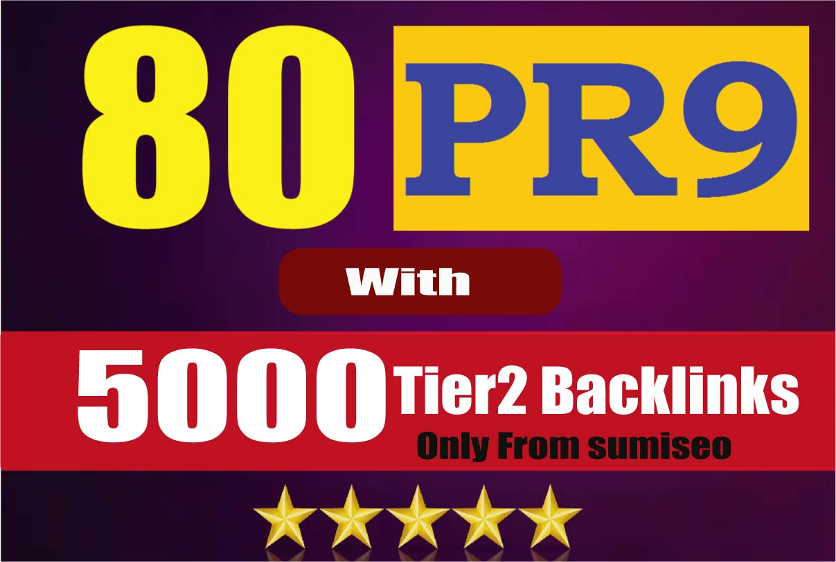 Manually Create 80 PR9 Backlinks DA-100 with 5000 Links Easy Link Juice & Faster Index