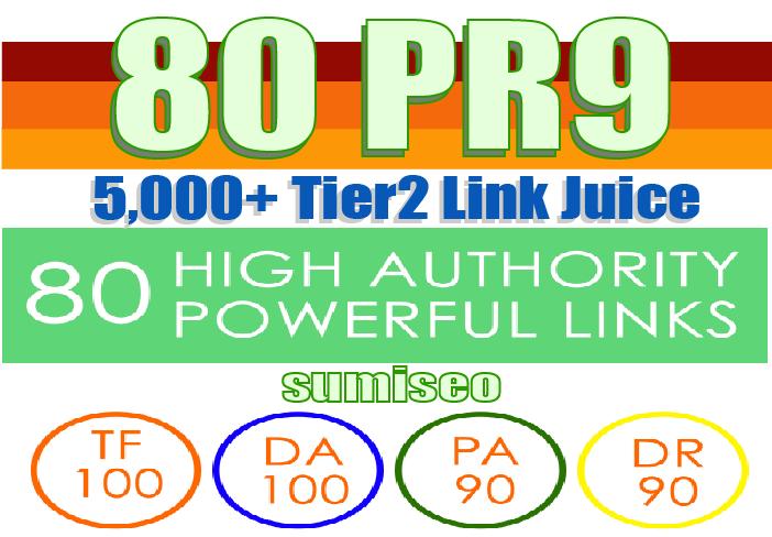 5080+ Backlinks Create 80 PR9 Backlinks DA-100 with 5000 Links Easy Link Juice & Faster Index