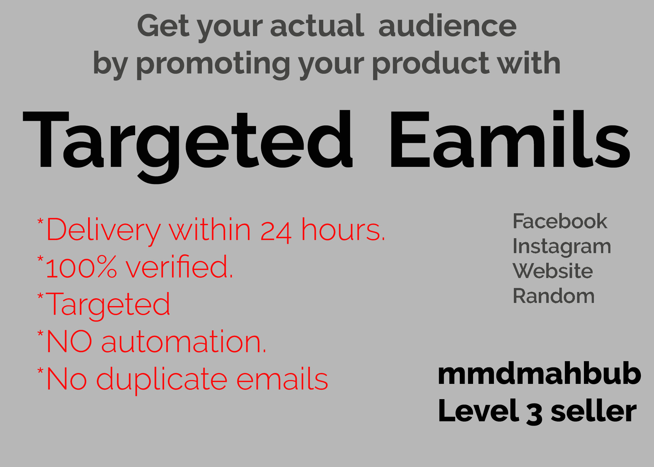 Get 100 targeted,  genuine and verified email leads within 24 hours