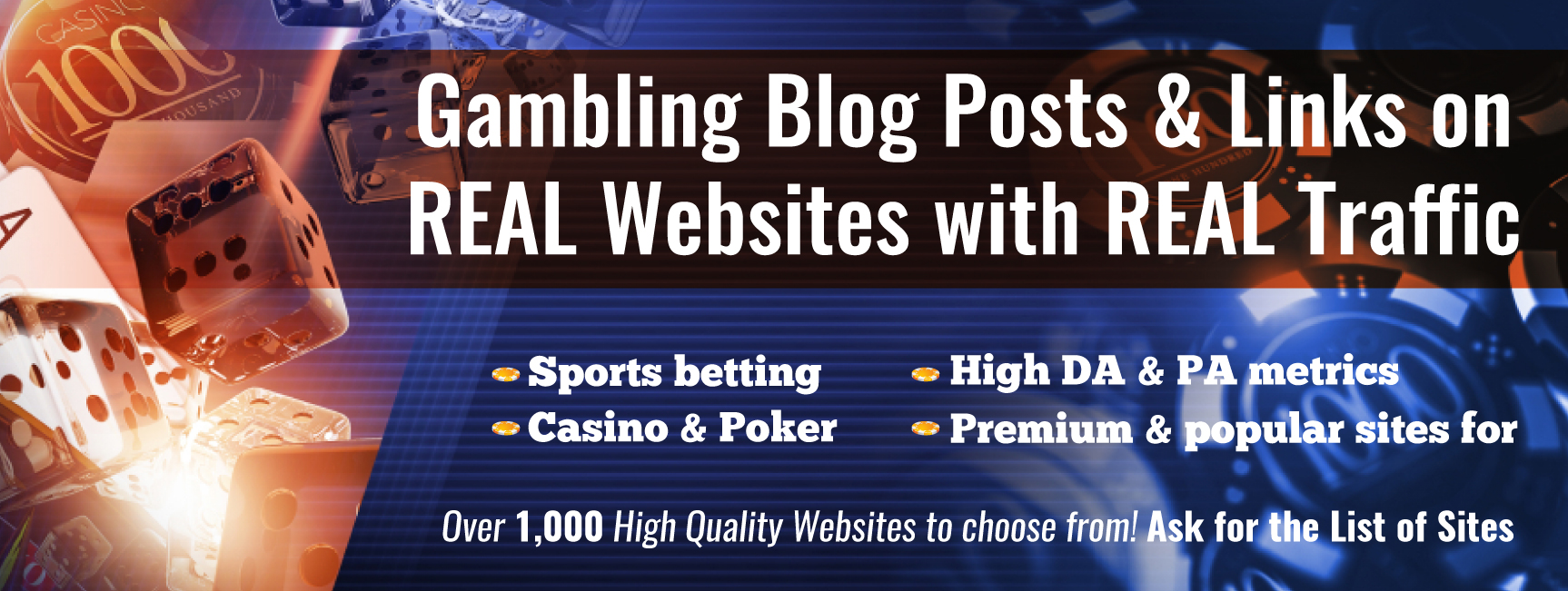 Create & build 20 long term backlinks from trusted websites PR9 Gambling Casino Sports Betting