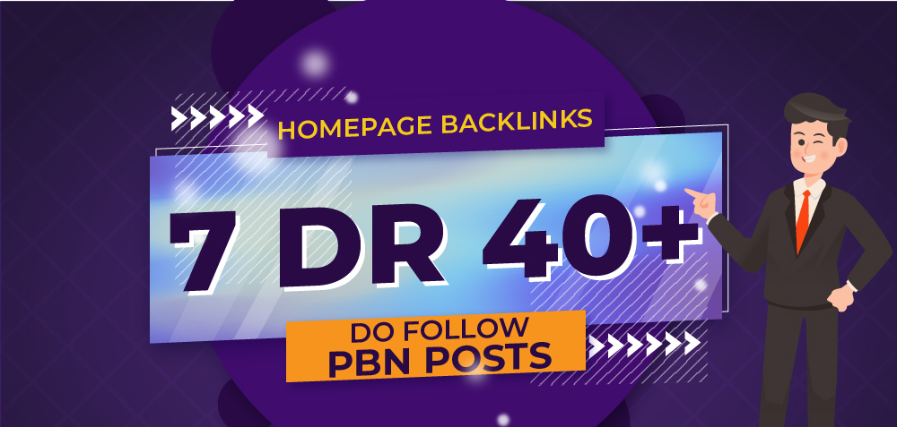 7 Manual HIGH DR 40 Plus Homepage PBN Backlinks for