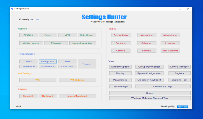 Settings Hunter - Windows 10 Settings Simplified