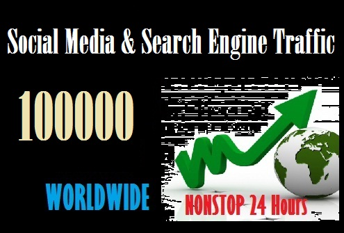 100000 Web traffic from Social Media and Search Engine Worldwide