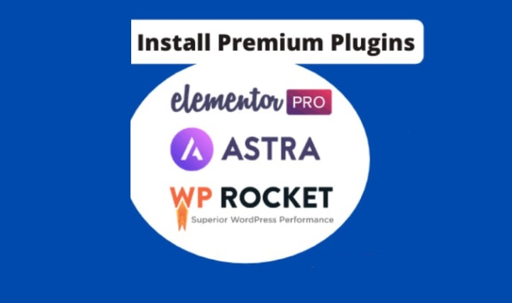 I will install elementor pro,  astra pro,  wp rocket on your website