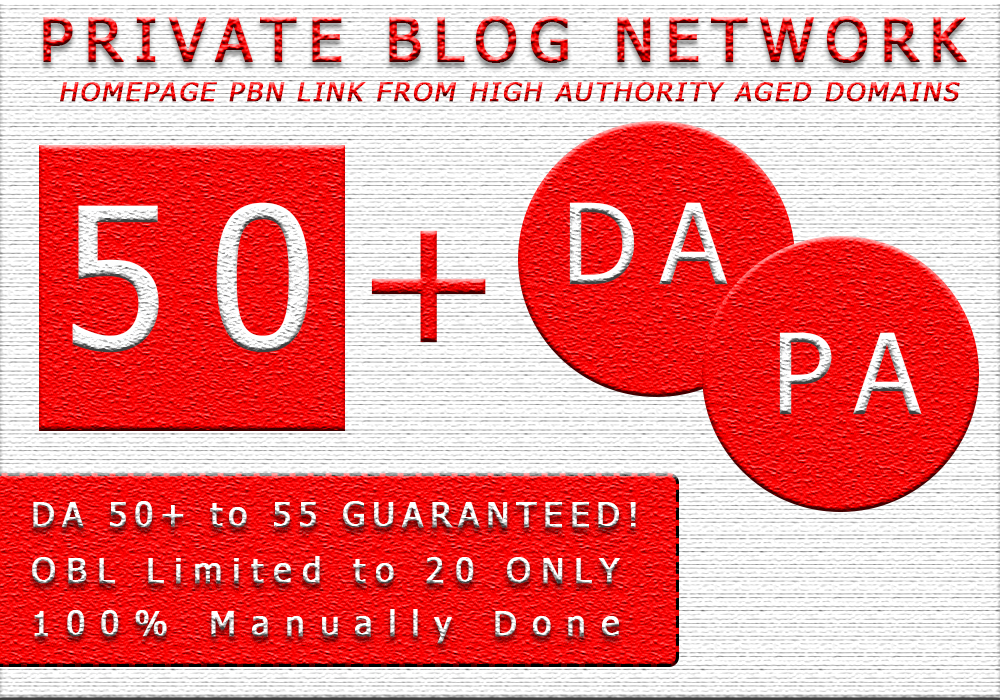 Build 50 DA 50 to 65 Homepage PBN Dofollow Backlinks For SEO Ranking