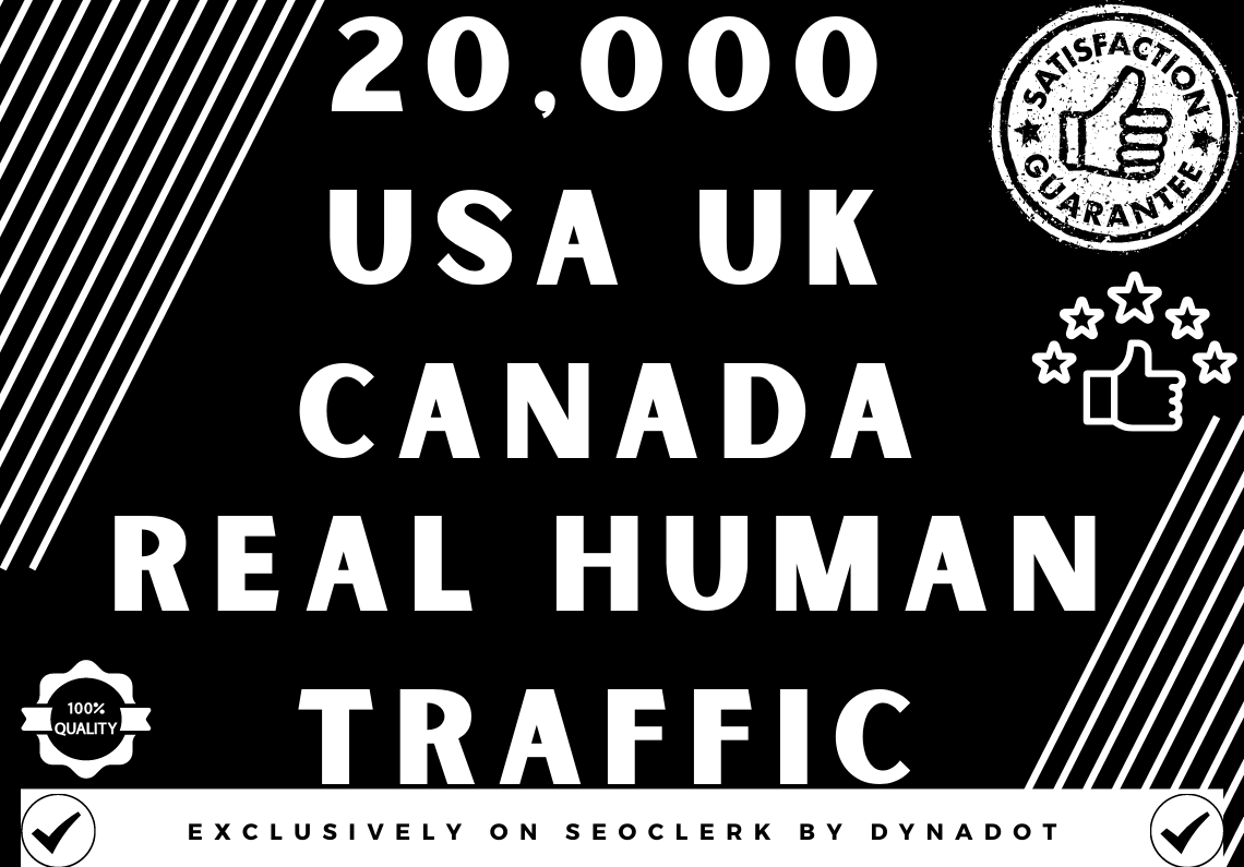 20,000+ Real Human Organic traffic from USA/UK/CANADA
