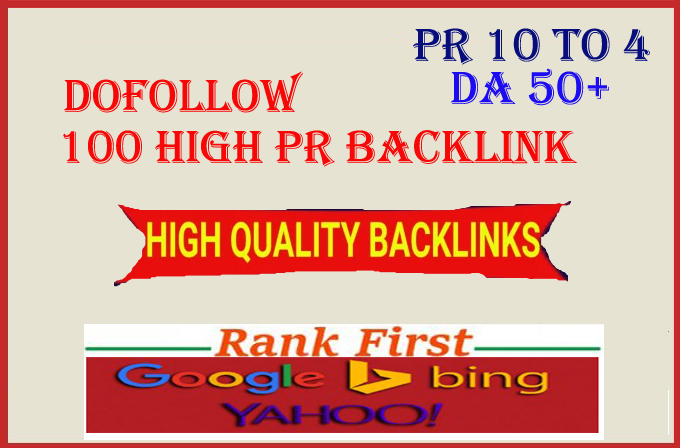 I will do dofollow 100 high PR backlink for google first page ranking