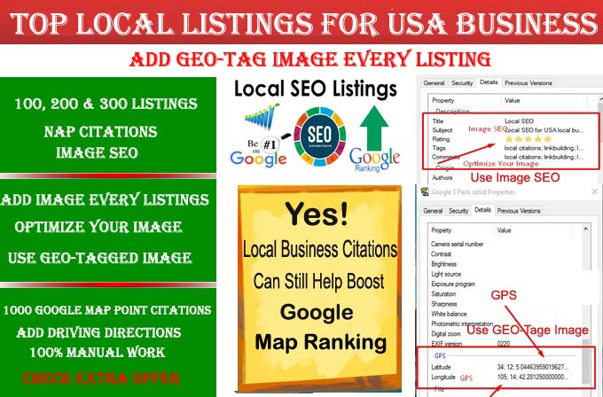 I will do 100 live local listings for USA local business ranking