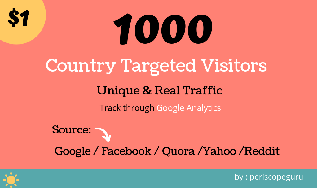 1,000 Country Targeted Website Traffic,  Real Visitors