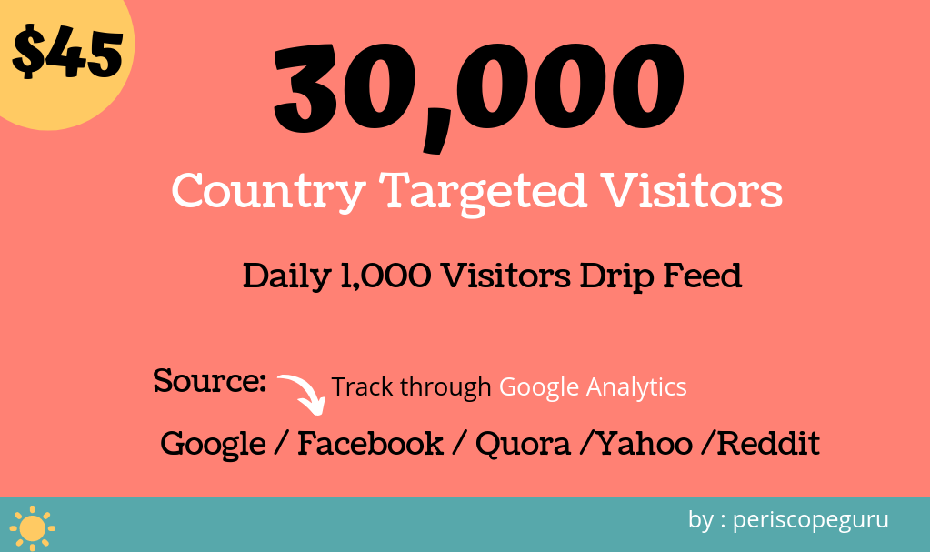 Country Targeted Website Traffic for 30 Days