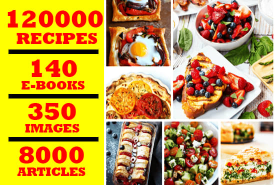 give plr articles and ebooks on 120,000 recipes instantly