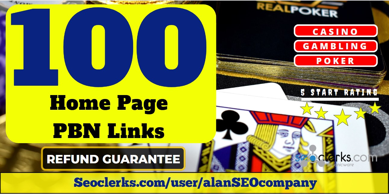 100 Casino, Poker, Gambling DA 65+ Permanent PBN Links