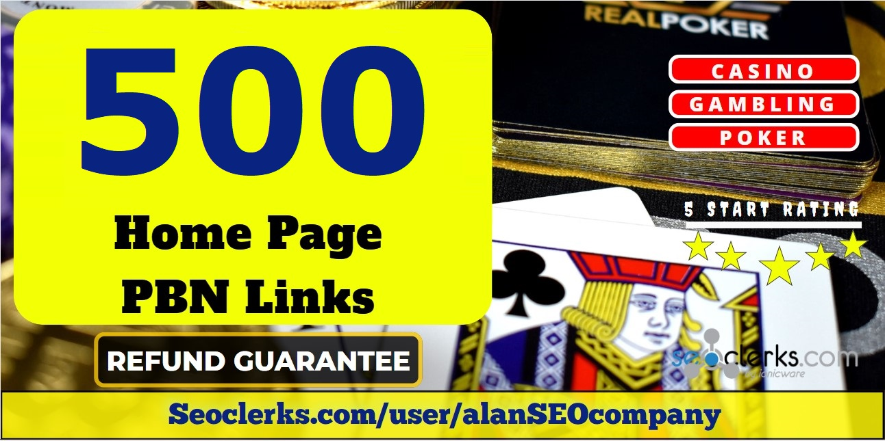 500 Casino,  Poker,  Gambling DA 60+ Permanent PBN Links