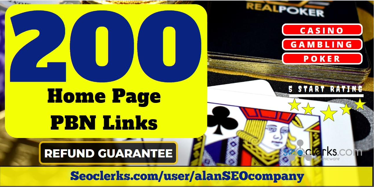 200 Casino,  Poker,  Gambling DA 65+ Permanent PBN Links
