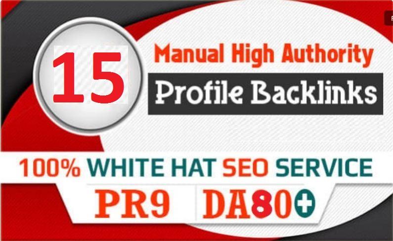 High Quality 15 PR9 Profile Backlinks High 70-90 DA PA