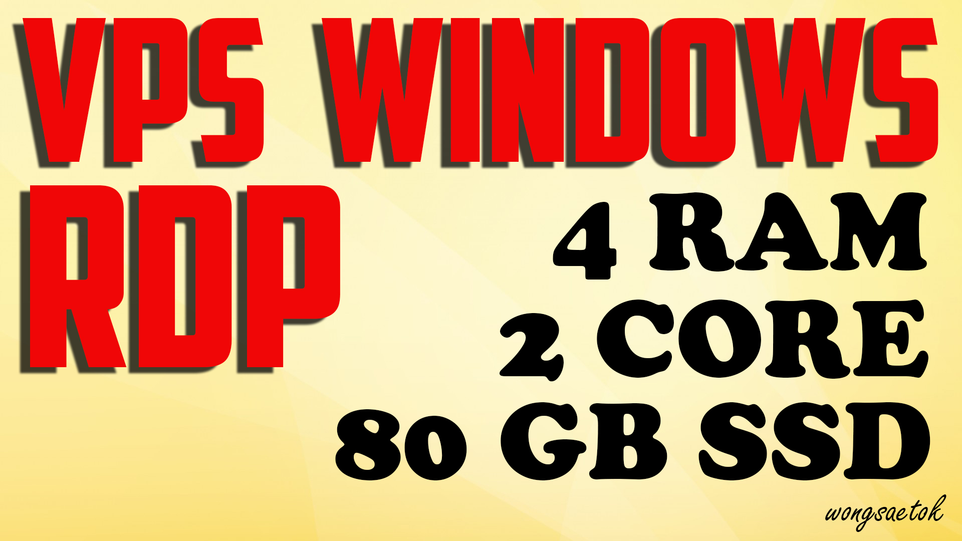 VPS RDP Windows 4 GB RAM 2 CPUs 80 GB SSD