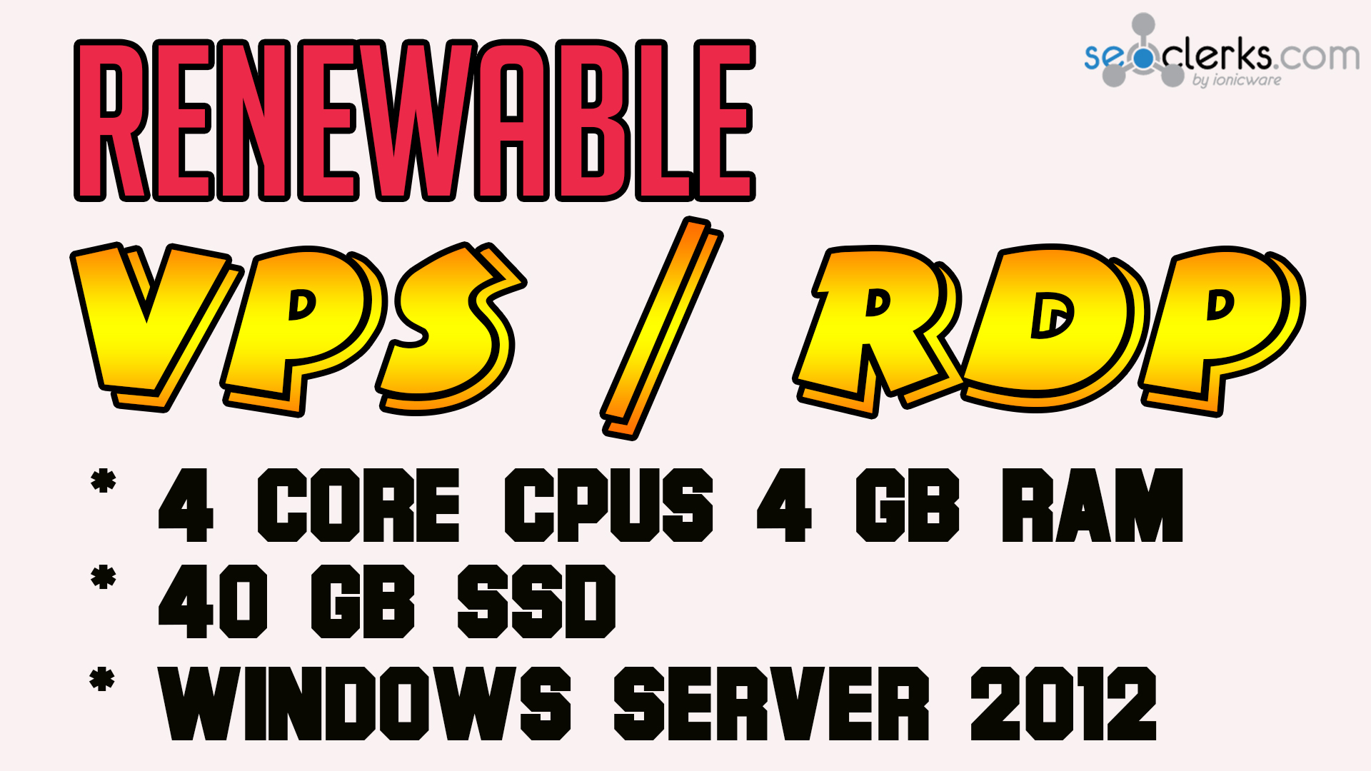 RENEWABLE WINDOWS VPS 4 Core CPUs 4 GB RAM 40 GB SSD