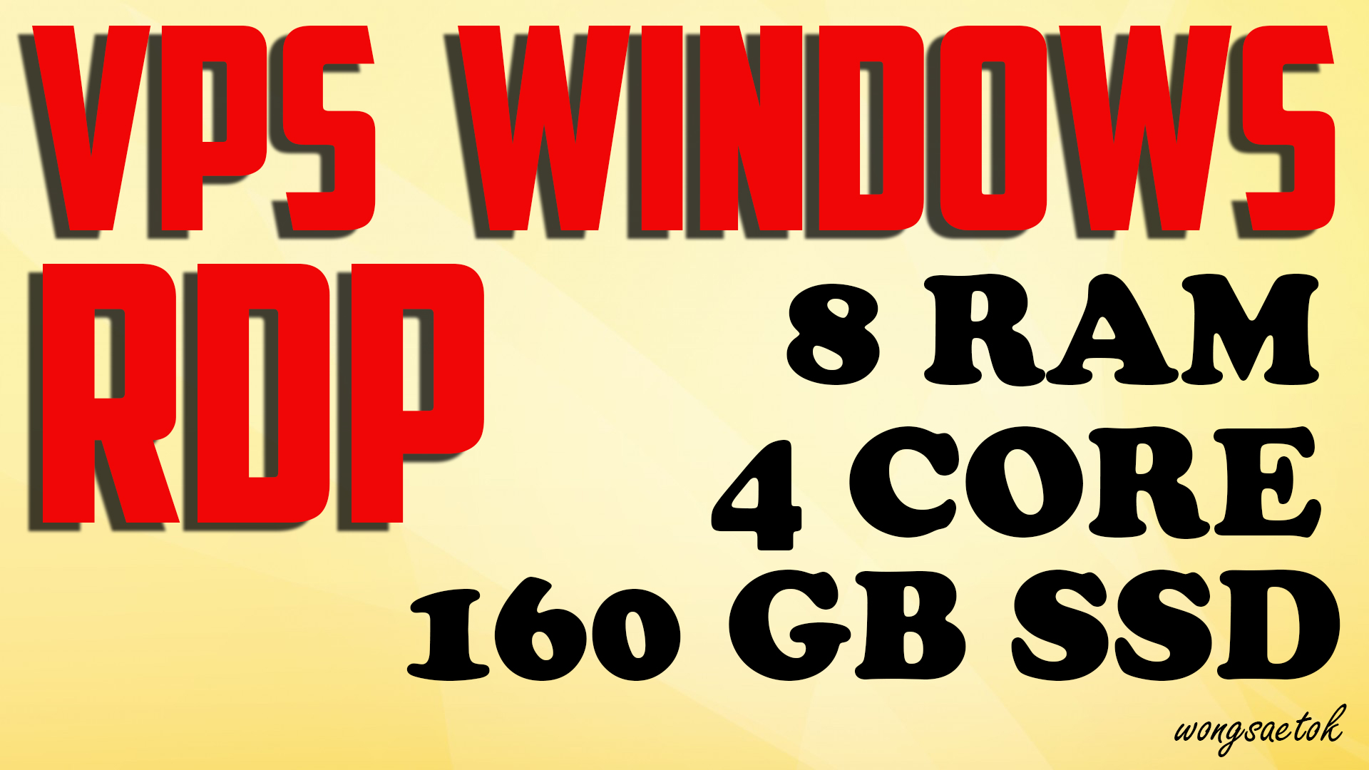 VPS Windows RDP 8GB RAM 4 Core 160GB SSD