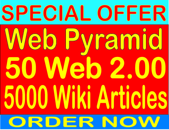Rank Web 2.0 Pyramid With 50 Web 2.0 from 5000 contextual Wiki Articles Backlinks