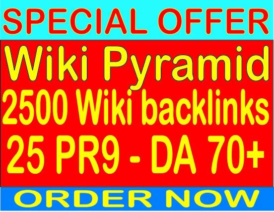 Ranking Wiki Pyramid With 2500 Wiki backlinks- 25 PR9 - DA Domain Authority 70+