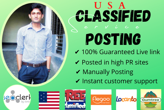 I will Do 100 Classified Ads Posting Manually in USA